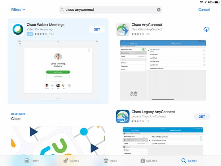 Cisco AnyConnect app in the App Store