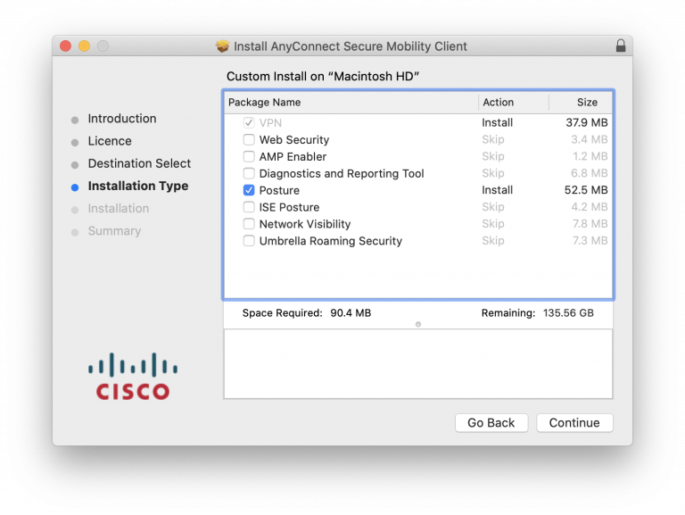 VPN and Posture options checked in Custom Install window
