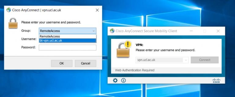 Cisco AnyConnect username/password window