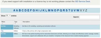 Screenshot of the Software Database