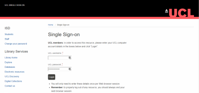 Screenshot of UCL's authentication window (Single Sign On)
