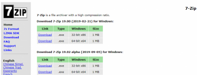 Options on the 7-Zip web site
