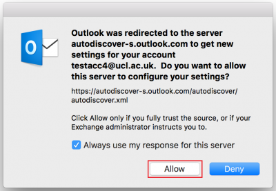 Fig 5. Auto-discover server prompt