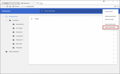 Backing up Chrome bookmarks step 4 screenshot