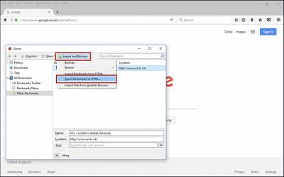Backing up Firefox bookmarks step 3 screenshot