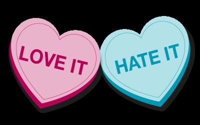 """""""Love IT"""" """"Hate IT"""" love heart sweets"""
