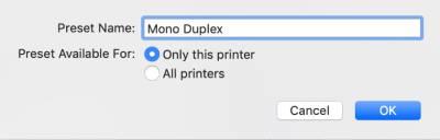 Mac Print@UCL settings – preset name