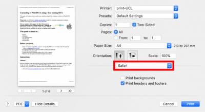 Mac Print@UCL settings – Printer Features