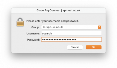 Cisco AnyConnect macOS - Group, Username and Password