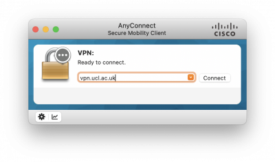 Cisco AnyConnect macOS ready to connect