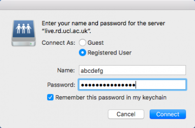 Username and password entry on MacOS Sierra