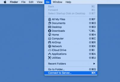 The Go drop-down menu on MacOS Sierra