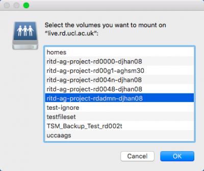 Volume selection on MacOS Sierra