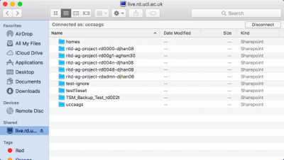 View of all available CIFS shares in file browser on MacOS Sierra.