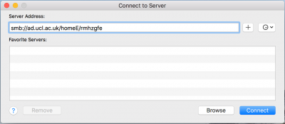 Mac OS X Connect to Server window