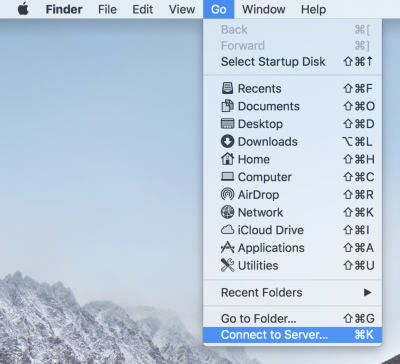 Mac OS X Finder Go menu