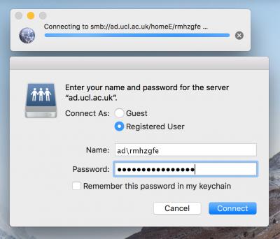 Mac OS X Name and Password window