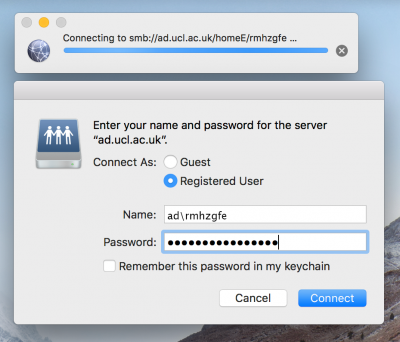Mac OS X Name and Password window