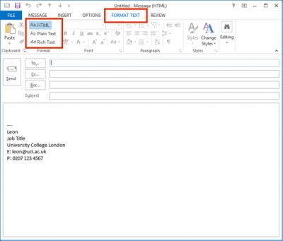 Send emails in HTML or plain text in Outlook 2013