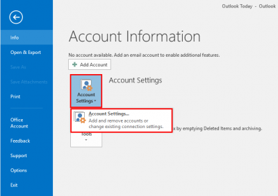 Location of Account Settings option