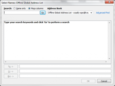 Searching the Global Address List (GAL) in Outlook 2013
