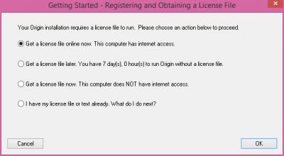 Origin Setup: Obtain licence file screen…