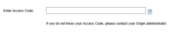 Origin Setup: Access Code screen…