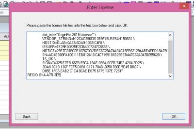 Origin Setup: Licence File Paste screen…