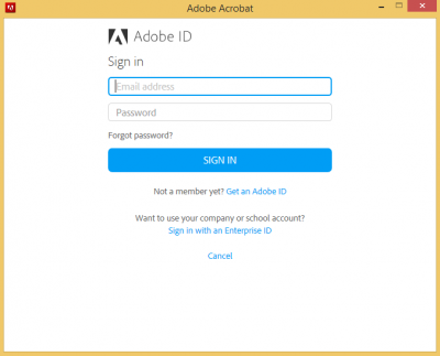Adobe ID Sign in…