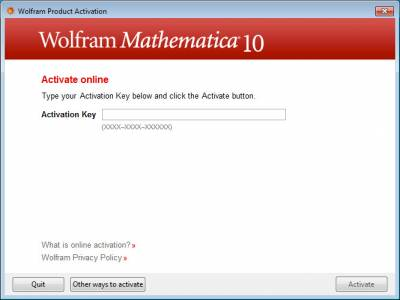 Wolfram Product Activation…