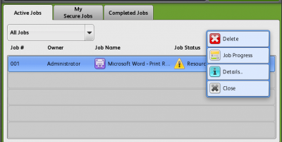 Active Print Jobs…