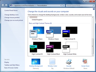 Windows therme seclection screen…