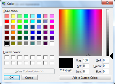 Colour selection screen…