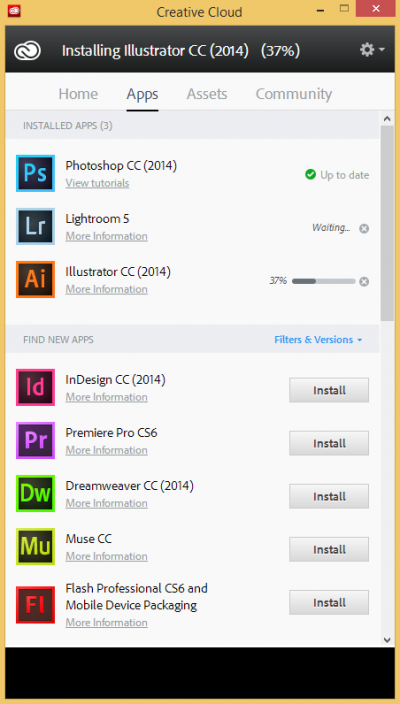 How to install Adobe CC single app : named user | Information