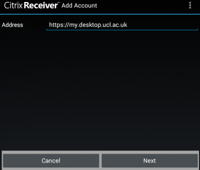 Installing the Citrix Receiver for Desktop@UCL on Android devices