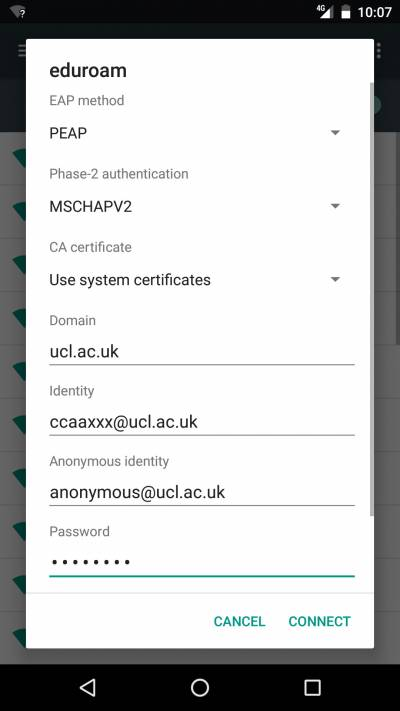 Settings that should be entered to connect to eduroam…