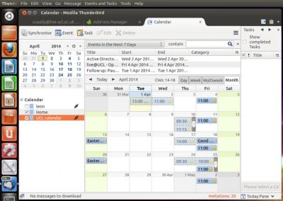 Fig 11. Example of a calendar in Thunderbird