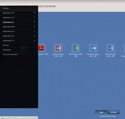 Citrix Receiver application menu…