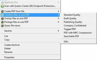 Combine files as one PDF options…
