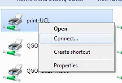 Connecting to Print@UCL using a standalone Windows computer