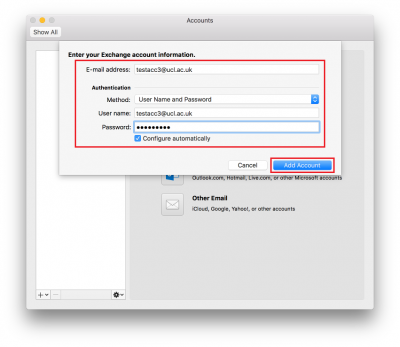 Fig 4. Example of account set-up…
