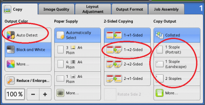 Change output colour, paper supply type, paper sides and stapling…