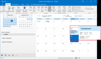 Fig 4. Example of a new appointment entry in a calendar in month view…