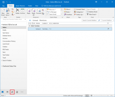 Fig 1. Location of the People option in Outlook 2016…