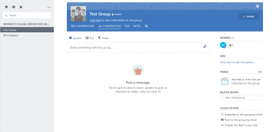 Fig 3. New group home page and list of joined groups…