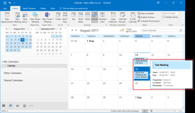 Fig 4. Example of a new meeting in a calendar…