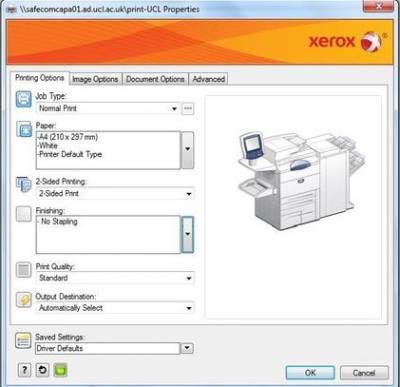 Default print settings…