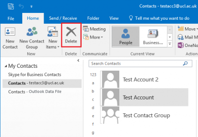 Fig 3. Example of deleting a contact using the Delete button…