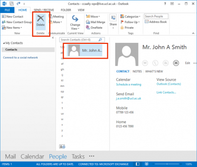 how to delete contacts in outlook email