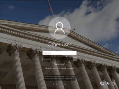 Desktop@UCL Windows 10 login in computer workrooms and lecture theatres…
